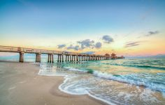 Yellow Sunrise Pier North, Naples Florida timothybathphotography.com