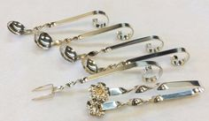 Vintage Sterling Silver Twisted Handle Spice Spoons/Cheese Fork /Tong  6 Pce Set #Unknown
