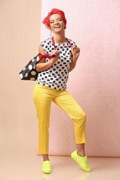 Joy & Fun! SUMMER 17 | YOKKO #summer17 #pants #yellow #blouse #floralprints #red #scarf #casual #dayoutfit #women #dotts #fashion #style #yokko