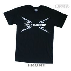 JiGGy.Com - Metallica - Death Flag T-Shirt Metallica t-shirt with artwork inspired by their 2008 album, Death Magnetic. Front features sick lightning bolts and nasty lettering of DEATH MAGNETIC, across the chest. Back features a large image of a worn American flag with the METALLICA logo, in white, across it. Printed on a black 100% cotton t-shirt.