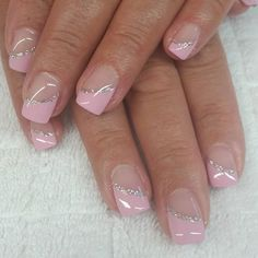french nails art With Bling French Manicure Designs, Gel Nail Designs, Cute Nail Designs, French Pedicure, Fingernail Designs, Pedicure Designs, Nails Design, French Nails, French Gel