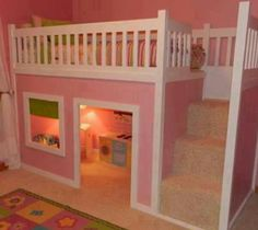 On The Hunt For The Perfect DIY Toddler Beds & Reading Nooks FREE tutorial for the diy bunk bed loft with reading room / playhouse beneath! DIY loft bed for kids! From Outstanding to Easy: 20 DIY Toddler Beds Loft Bed Stairs, Playhouse Loft Bed, Bunk Beds With Stairs, Girls Playhouse, Indoor Playhouse, Stairs Master, Castle Playhouse, Childrens Playhouse, Castle Bed