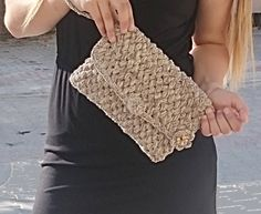 Women Handbags, Wristlet Clutch Bag, Crocheted Clutch, Everyday Clutch, Brown Beige Gold Metallic Ribbon Yarn, Crochet Bag, Boho Clutch Gift by LTLDizaynDIY on Etsy
