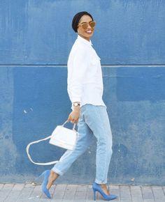 Hijab + White Shirt + Boyfriend Jeans (feeeeya)
