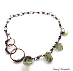 Copper Circles Necklace with Chunky Prehnite by SleepyCatJewelry on Etsy
