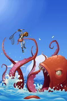Cool fantasy art by Jason Flack Cthulhu, Kraken, Octopus Art, Red Octopus, Sea Monsters, Monster Art, Digital Illustration, Illustrations Posters, Amazing Art