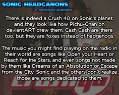 There is indeed a Crush 40 in Sonic's planet, and they look like how Pichu-Chan on deviantART drew them. Cash Cash are there too, but they are foxes instead of hedgehogs. The music you might find playing on the radio in their world are songs like Open your Heart or Reach for the Stars, or even songs not made by them like Dreams of an Absolution or Escape from the city. Sonic and the others don't realize those are songs dedicated to them. [Referring to this fanart.]