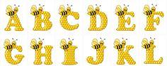 1 of 2--- http://www.ohmyalfabetos.com/2013/10/alfabeto-de-abeja-sobre-letras-de-panal.html?m=0