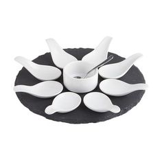 Tasting Party™ Round Slate Tray with Spoon Set