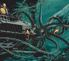 This tentacular 20,000 Leagues Under the Sea poster is by Australian illustrator Ken Taylor.
