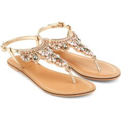 Accessorize Chunky Stone Sandal ($34) ❤ liked on Polyvore featuring shoes, sandals, flat sandals, flats, ankle wrap sandals, embellished flats, jeweled sandals, flat shoes and jeweled flats
