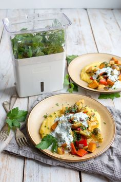 Polenta is a delicious, creamy base for a great vegetarian meal. Pair it with seasoned roasted vegetables and this zingy, herby dressing for a great meal!