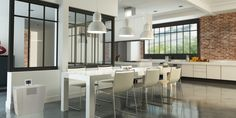 Cleanly divide open space with steel and glass half-walls Demis Murs, Glass Room Divider, Room Dividers, Double Vitrage, Half Walls, Light Crafts, Industrial, Fireplace Wall, Glass Kitchen