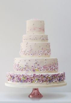 """""""I prefer wedding cakes like this, it's decoration is subtle and it picks up this year ombre trend.  Its romantic without being gushy.  it's overall design is simplistic which always make people underestimate how much work goes into creating such a beautiful wedding cake"""" Kerrie G, Custom Bridal Jeweller, http://weddingandgems.co.uk #weddingcake #wedding #cake"""