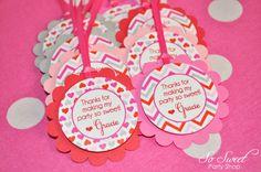 12 Valentine Birthday Favor Tags  Valentine's by sosweetpartyshop, $10.00