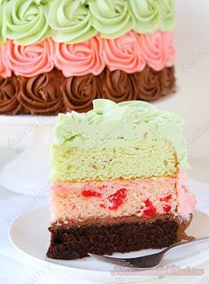 Трёхцветный торт on http://kulinarniyclub.ru Cake amazing