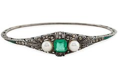 Faux-Emerald, Pearl Deco Bracelet. Would be a beautiful ring.