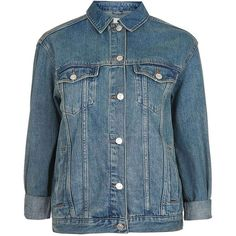 Topshop Moto Oversized Western Denim Jacket (75 CAD) ❤ liked on Polyvore featuring outerwear, jackets, topshop, cowboys jacket, jean jacket, blue jean jacket, boyfriend jean jacket and western jackets