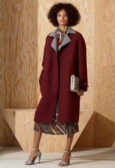 Coats layered over retro geometric prints at Bottega Veneta Pre-Fall 2016.