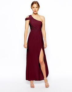 ASOS One Shoulder Drape Maxi Dress. Alyssa would murder me for making her wear it. Dang, finding even a base for my bridesmaids to work from is hard.