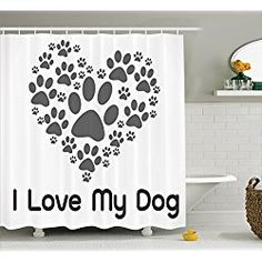 I Love Dog Typography Heart Shaped Monochromic Shower Curtain Set, 75  Inches Long, Gray