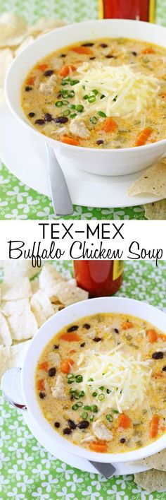 no butter, cottage cheese for cream cheese. love the flavor of buffalo wings then you'll love this creamy, spicy soup done up Tex-Mex style with black beans, corn and cheese! Healthy Chicken Soup, Vegetarian Chicken, Chicken Soup Recipes, Recipe Chicken, Butter Chicken, Buffalo Wings, Buffalo Chicken Soup, Chicken Chili, Campbells Soup Recipes