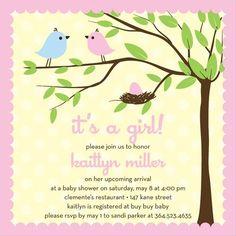 cute nesting bird baby shower invites