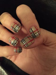 Nova check / Burberry classic nail art. Shellac base color (OPI - Did You Ear About Van Gogh) with nail art color accents. Love this look! From Soho Nails in Bowling Green, KY.