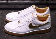 Nike Air Force 1 Downtown | White, Gold & Gum