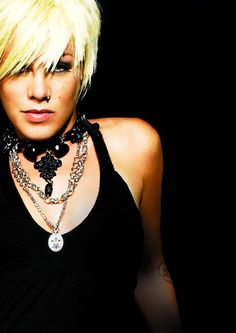 Pink. Great picture. Makes me believe I am f'n perfect. she's been my role model for a long time