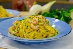 En rykande god pasta som serveras med fänkål, räkor och saffran!