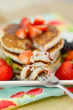 Gluten Free Pancakes with Berries are a perfect meal to enjoy with your fresh picked berries. Delightful!