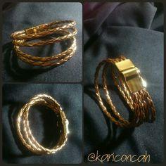 Bracelet pulseira couro trançado dourada e fecho de imã by @kariconcah #pulseira #semfiltro