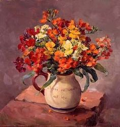 """Vibrant Wallflowers giclee print on canvas  - from the original flower painting by Anne Cotterill. Ready to hang on your wall, the canvas, stretched on a wooden frame, is 30.5cm x 30.5 (12"""" x 12""""). It is a Limited edition of 50, supplied with certificate of authenticity signed on behalf of the Estate of Anne Cotterill. The painting depicts red and orange Wallflowers (Erysimum) in a Torquay Pottery jug with the motto """"There's no wealth but life"""". http://www.millhousefineart.com"""