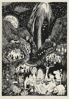 High quality digital print - a copy of book illustration made by Tove Jansson to Finn Family Moomintroll. frames available on the market (for Tove Jansson, Art And Illustration, Les Moomins, Moomin Books, Yule, Vintage Posters, Art Inspo, Painting & Drawing, Illustrators