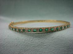 18k gold bracelet 0.50ct Emeralds and 0.50ct Diamonds extra fine