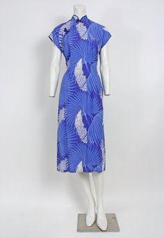 50s Malihini Blue Hawaiian Print Asian Cheongsam Dress