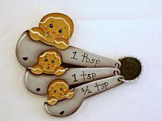 A Spoonful of Ginger, Item #FPH136, Gingerbread Fridge Magnet, ByBrendasHand, Gingerbread Kitchen, Gingerbread Decor, Measuring Spoons by ByBrendasHand on Etsy