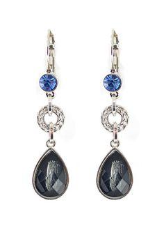 So Pretty! Sapphire Blue and Grey Crystal  Fashion Rhinestone Pierced Alloy Drop Earrings #Sapphire #Blue #Crystal #Dangle #Earrings #Fashion #Jewelry #Accessories