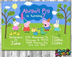 Peppa Pig Invitation, Peppa Pig Birthday Invitation, Peppa Pig Invites with Photo, Peppa Pig Thank Y Invitacion Peppa Pig, Cumple Peppa Pig, Photo Invitations, Digital Invitations, Invites, Third Birthday, 3rd Birthday Parties, Birthday Ideas, Cumple George Pig