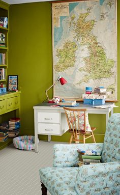 """Green study room by Cath Kidston taken from the article """"The Cath Kidston appreciation society"""""""