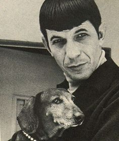 Actor Lenord Nimoy with Dachshund> #dogs #pets #Dachshunds Facebook.com/sodoggonefunny