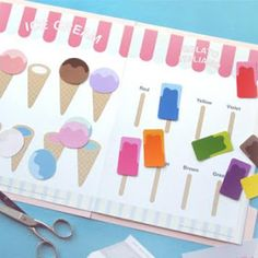 Clique na imagem para imprimir  A atividade consiste em casar cores ( bolas de sorvete nas casquinhas correspondentes) e em associar as core...
