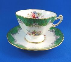 Signed F.Howard Green & Gold Trim with Florals Hammersley Tea Cup and Saucer Set