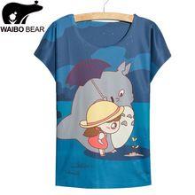 Moda rápida azul de impresión totoro T-shirt mujeres tops tees nueva muchachas del vestido del verano del tamaño grande T-shirt mujeres del estilo del verano camiseta delgada(China (Mainland))