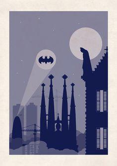 Barcelona Skyline print // Batman Inspired poster // Batman art print illustration La Sagrada Familia Gaudi Darknight Batsignal artwork