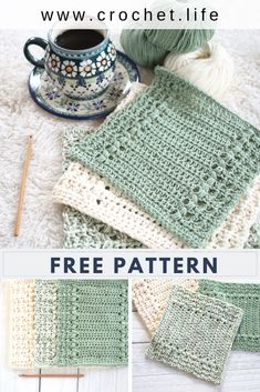 Easy to crochet dishcloth and hand towel pattern by GoldenStrandStudi.life - River's Edge Dishcloth Easy to crochet dishcloth and hand towel pattern by GoldenStrandStudi. Crochet Kitchen, Crochet Home, Crochet Gifts, Diy Crochet, Crochet Hot Pads, Crochet Baby, Knitting Patterns, Crochet Patterns, Cloth Patterns