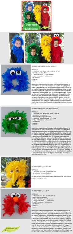 Sesame Street Inspired Character Costumes #feathers #diywithfeathers #featherboas