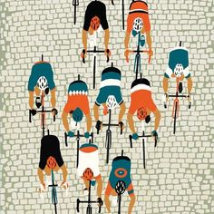 rollersinstinct:  Paris-Roubaix by Eliza Southwood which is part of her Spring Classics exhibition currently on at Look Mum No Hands. Definitely looking forward to this year's race on Sunday.