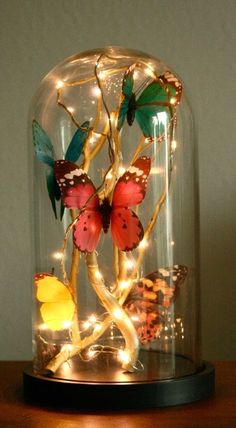 DIY glass cloche filled with butterflies, fairy lights and golden branches